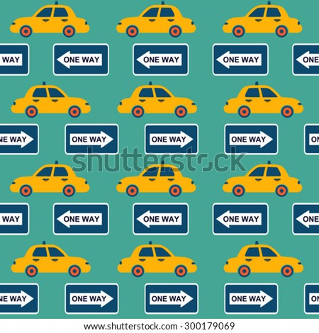 taxi in  New York vector seamless pattern - stock vector