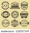 Taxi labels, vintage style, vector illustration - stock vector