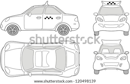 Taxi passenger  car (outlined top, side, back, front view), isolated on white background - stock vector
