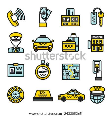 Taxi public passenger transportation business icon set isolated vector illustration - stock vector