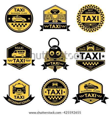 Taxi service black yellow emblems - stock vector
