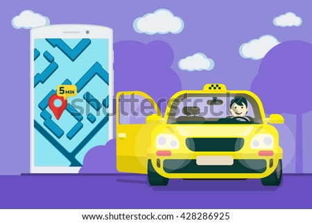 Taxi service. Flat yellow taxi with a driver. The car with the door open. car front view. Flat mobile phone with a label on the map. Application for taxi online. Vector clipart graphics - stock vector