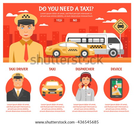 Taxi service infographics with title do you need taxi and a few buttons or links with different titles vector illustration - stock vector