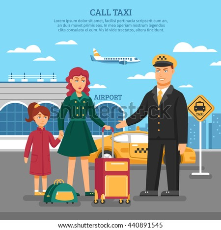 Taxi service poster with description of taxi to airport and a taxi driver added services for transfer of luggage vector illustration - stock vector