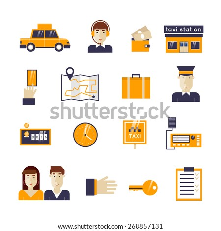 Taxi service set icons: taxi driver, money, passenger, dispatcher, money, taxi, hand, portable radio, driver, route, things, counter, time. Flat design vector illustration. - stock vector