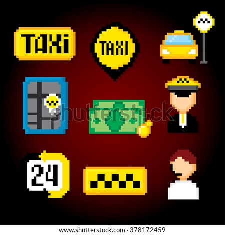 Taxi service set. Pixel art. Old school computer graphic style. - stock vector