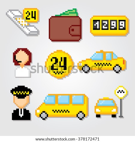 Taxi service set. Taxi icons. Taxi signs and symbols. Taxi pixels. Pixel art. Old school computer graphic style. - stock vector