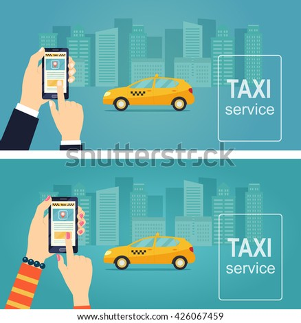 Taxi service. Uber. Smartphone and touchscreen, city skyscrapers. Banner. Vector flat illustration. - stock vector