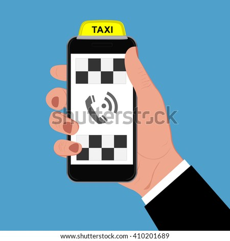 Taxi sign and smartphone, vector illustration - stock vector
