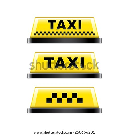 Taxi sign isolated on white photo-realistic vector illustration