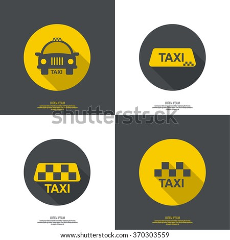 Taxi sign. The machine cab for quick transport of passengers. minimal. flat design. button for web and mobile applications. - stock vector