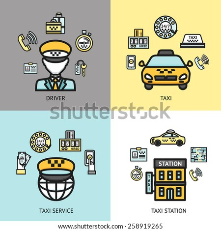 Taxi station 24h available call service 4 flat icons composition with professional driver abstract isolated vector illustration - stock vector