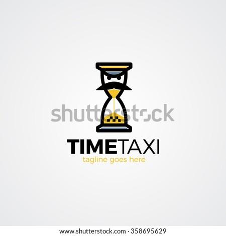 Taxi time logo. Taxi character. Taxi men. - stock vector