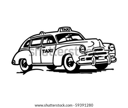 TaxiCab - Retro Clip Art - stock vector