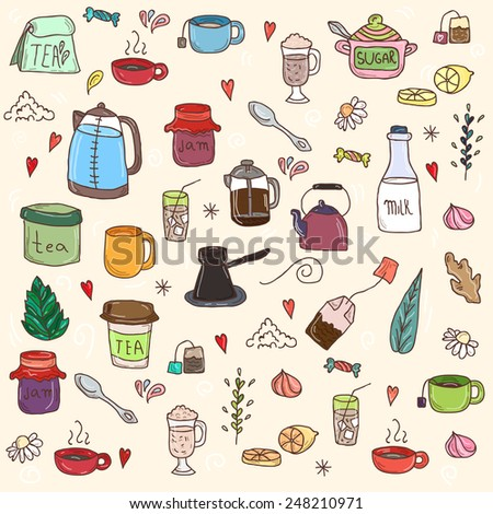 Tea and all stuff - Hand-drawn seamless colorful vector pattern - stock vector
