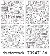 Tea and coffee background set - stock vector