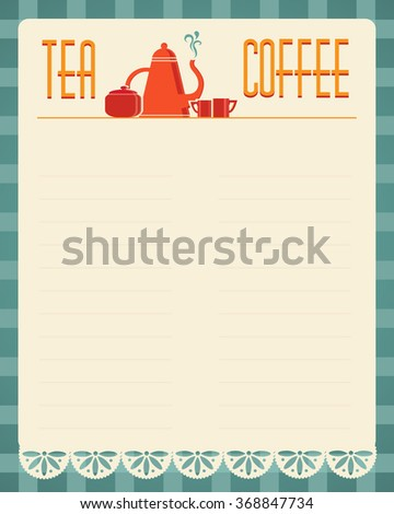 Tea Coffee Blank Menu Template Retro Stock Vector