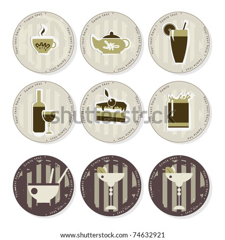 Tea and coffee coasters - stock vector