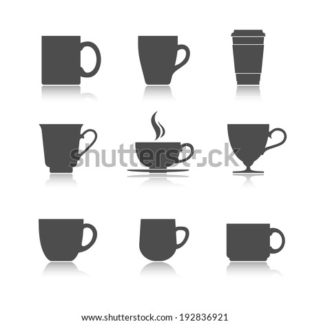 Tea and coffee cup set. Vector illustration - stock vector