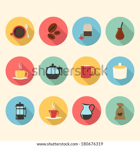 tea and coffee flat design icons set. template elements for web and mobile applications - stock vector