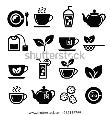 Tea and ice tea vector icons set  - stock vector