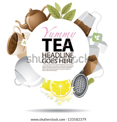 Tea Background with Copy Space. EPS 8 vector, grouped for easy editing. No open shapes or paths. - stock vector