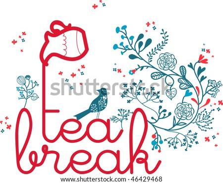 tea-break theme design with floral and bird - stock vector