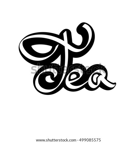 Tea, calligraphy letter, isolated sticker, word design template, vector illustration