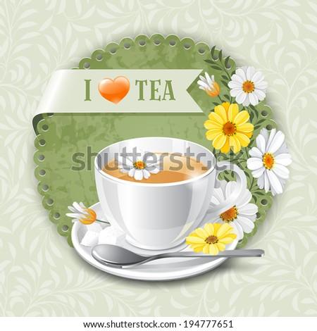 Tea card template for restaurant, cafe, bar - stock vector