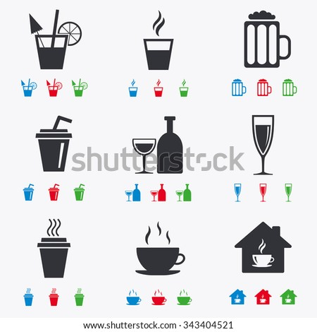 Tea, coffee and beer icons. Beer, wine and cocktail signs. Take away drinks. Flat black, red, blue and green icons. - stock vector
