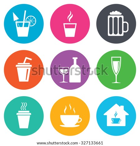 Tea, coffee and beer icons. Beer, wine and cocktail signs. Take away drinks. Flat circle buttons. Vector - stock vector