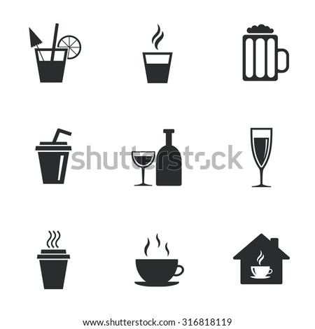 Tea, coffee and beer icons. Beer, wine and cocktail signs. Take away drinks. Flat icons on white. Vector - stock vector