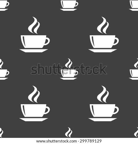 tea, coffee icon sign. Seamless pattern on a gray background. Vector illustration - stock vector