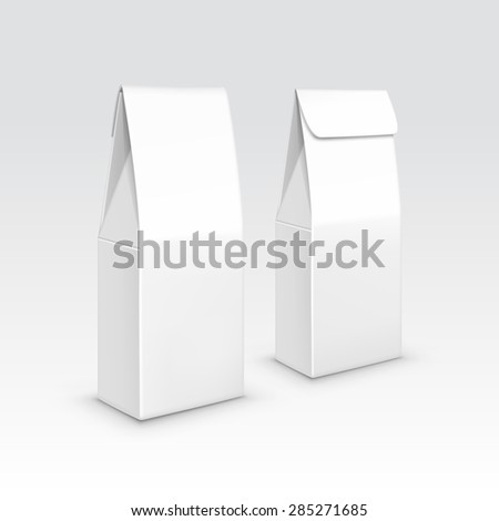 Tea coffee paper packaging package pack bag isolated vector illustration - stock vector