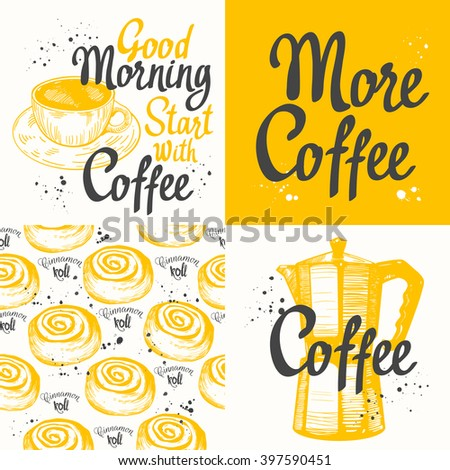 Tea coffee set with seamless background and sketch. Hot drinks menu. Vector Illustration with cup, coffee maker and pattern. Decorative elements for your packing design. Multicolor decor. - stock vector