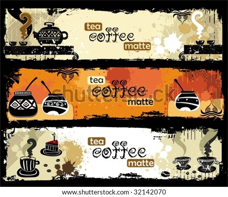 Tea, coffee, yerba mate  banners. To see similar, please VISIT MY PORTFOLIO
