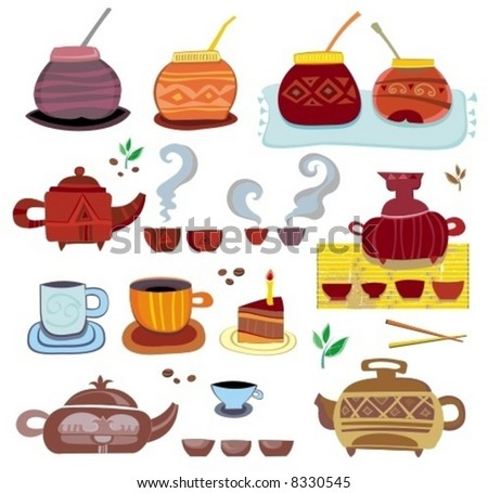 tea, coffee, yerba mate - colorful set of design elements. To see similar  sets, please visit my gallery - stock vector