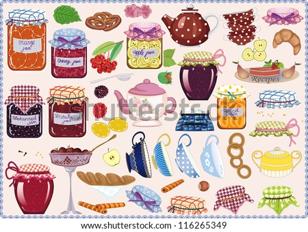 Tea collection of jam-jars, teacups, teapots, fruits and pastry - stock vector