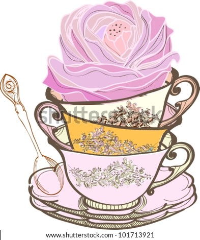 tea cup background with spoon and flower,vector  illustration - stock vector