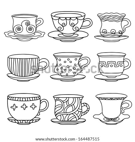 Tea cup, coffee cup, saucers, set simple sketch icon black line isolated on white background. Doodle, cartoon drawing illustration. Drinks. Abstract design logo. Logotype art - vector - stock vector