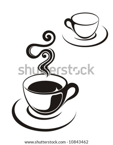 tea cup illustration or coffee - stock vector