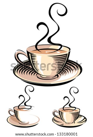 Tea cup in woodcut style - stock vector
