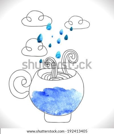 tea cup with clouds and rain, cute VECTOR illustration - stock vector
