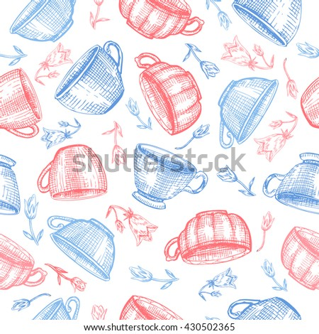 Tea cups bell flower vector sketch hand drawn isolated on white, Seamless vector pattern for card, package cosmetic, tea, coffee, magazines, web sites, restaurant menu, page, wallpaper, textiles - stock vector