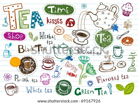 Tea Doodles, set of vector hand-drawn pictures and inscriptions. - stock vector
