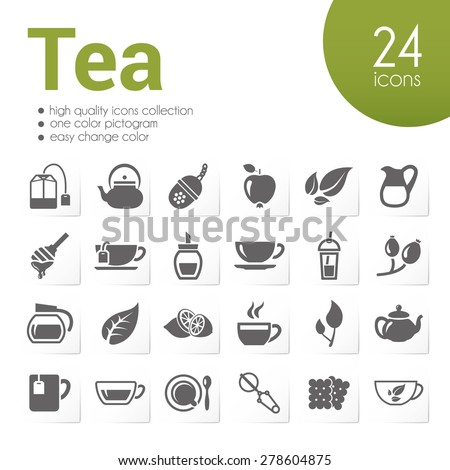 tea icons - stock vector