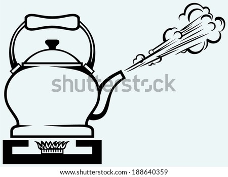 Tea kettle on gas stove. Isolated on blue background - stock vector