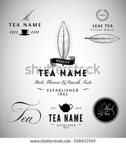 Tea Label Design Elements - stock vector