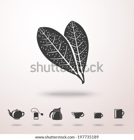 Tea leafs detailed vector monochrome icon in the air with shadow. With set of tea icons - tea pot, tea bag, kettle, cups and mugs. - stock vector