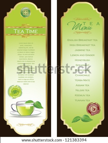 Tea Menu Template Stock Vector 121383394